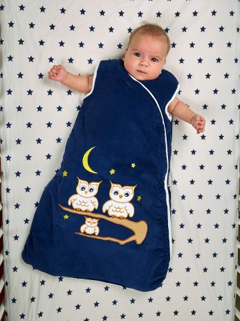 white-owls-sleeping bag-baby